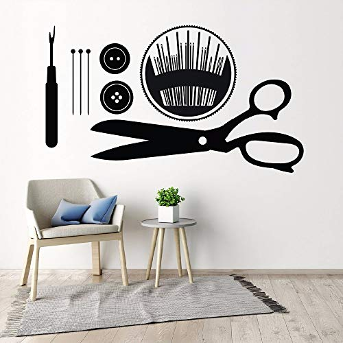 zqyjhkou Sewing Wall Art Decals Näherin Geschenk Wandaufkleber Buttons Pins Sewing Tools Wandbild Abnehmbare Sewing Shop Wall Decor A57X33CM