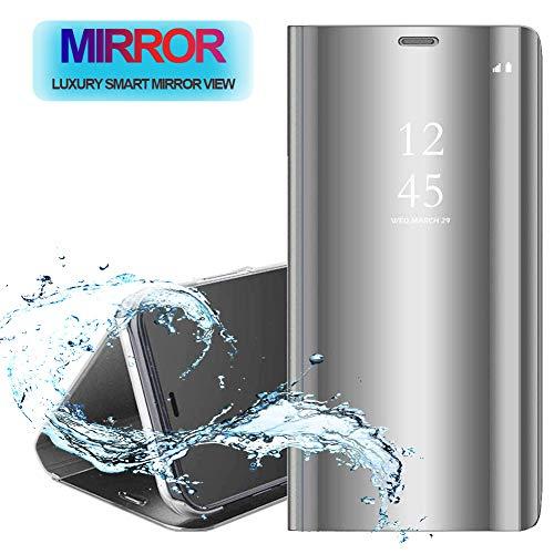 POBIN Für LG G8 ThinQ Hülle,[Standfunktion] Premium Tasche Cover Mirror Smart Flip Case[Vollschutz-mit] Cover Bumper Stoßfest Handyhülle Fall für LG G8 ThinQ-Silber