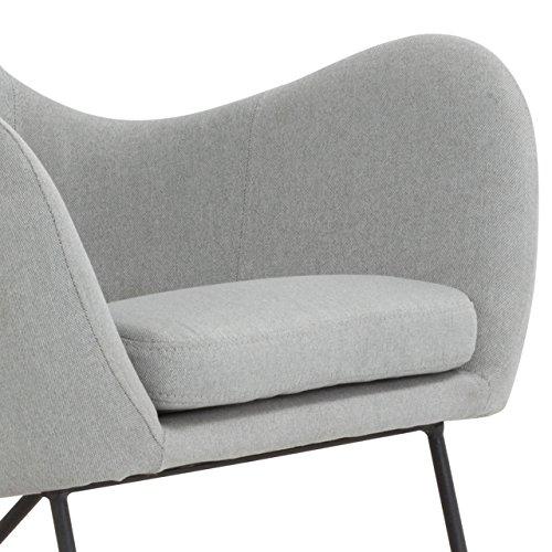 Designer Stillstuhl aus Stoff mit Armlehnen grau - 4