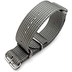 MiLTAT 26mm NATO Watch Band, Thick Zulu Nylon for Heavy Watch, Matte Grey, Brushed