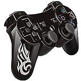 Wireless Bluetooth Game Romote Controller mit Double Shock Bonus kostenloses Ladekabel für ps3 PlayStation 3 Controller (Jet Schwarz)