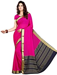 Roopkala Silks & Sarees Women's Georgette Saree With Blouse Piece(Ds-273_Magenta Pink_Free Size)