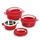 #2: Cello Cuisine Insulated Plastic Casserole Gift Set, 3-Pieces, Mop Red