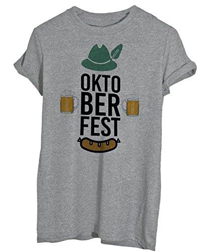 iMage T-Shirt Oktoberfest Birra Germania WURSTEL - Eventi - Maglietta Donna-L-Grigia