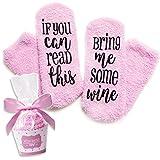 Luxus Wein Socken mit Cupcake Geschenk Verpackung | ausgefallene Geschenkidee | Geschenk für Frauen (Pink)