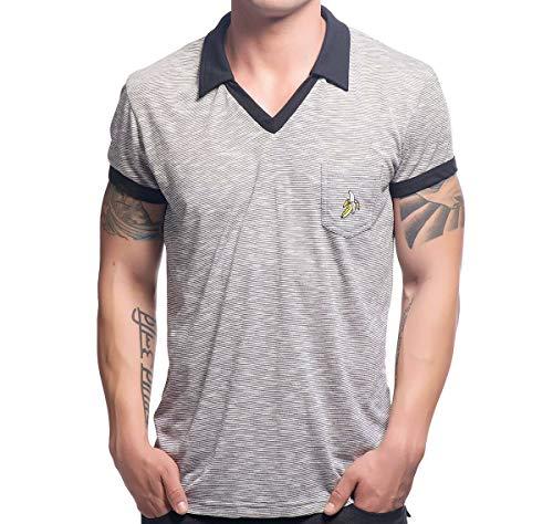 Andrew Christian Herren Poloshirt Banana V-Neck Rayon Polo 10243, grau S (Christian Polo-shirts)