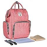 DCCN Baby Wickelrucksack Rucksack Wickeltasche mit Wickelunterlage Große Kapazität Babytasche Reise Rucksack Reisetasche für Unterwegs Rosa