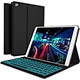 YEKBEE iPad Keyboard case cover with PU leather wireless bluetooth keyboard 7-color backlit