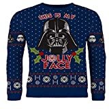 Photo de Star Wars Darth Vader 'This is My Jolly Face' Navy Unisex Christmas Jumper par Cup of Tees