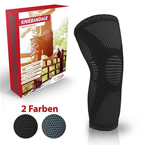 Vigo Sports® Anti Rutsch Kniebandage für Sport, Schmerzlinderung & Genesung – Optimale Knieschützer für Männer & Damen – Elastische Knieschoner für Volleyball, Laufen & joggen – Knieorthese (XL)