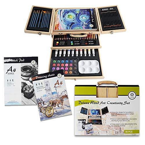 Conda 95-teiliges Kunst-Zubehör mit Zeichenwerkzeugen für Anfänger, Künstler, 3 Skizzierbücher, Skizzier- und Zeichenset mit Holzbox