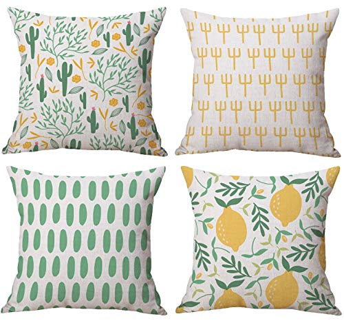 Gspirit 4 Pack Verano Cactus Limón Algodón Lino Throw Pillow Case Funda...
