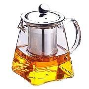 f22b5310cfde1 xinxun Teiera con infusore in vetro trasparente resistente al calore 350 ml