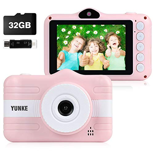 YUNKE Kinderkamera, Digitale Kamera Bildschirm 3,5 Zoll Bildschirm 32G Speicherkartenband Kartenleser, Rosa