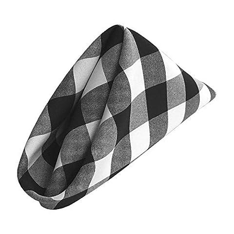 LA Linen Pack of 10 Gingham Checkered 18 x 18-Inch Napkins, White/Black
