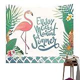 QEES Tapiz de flamencos Rosados y Plantas exóticas, Hojas de Palmeras Tropicales para decoración del hogar, tapices para Decorar el hogar, la habitació