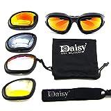 LIANA IRWIN Daisy® X5 Abnehmbare zusammengebaute Schutzbrille - 4 Paare Brillengläser, Anti-UV-Nachtsicht mit Blendschutz, geeignet für Reiten im Freien, Skifahren, Wandern, Camping, Wildfischen