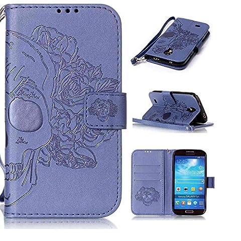 Tasche für Samsung Galaxy S4 Mini (i9190) 4.3 Zoll Hülle, Ycloud PU Ledertasche Flip Cover Wallet Case Handyhülle mit Stand Function Credit Card Slots Bookstyle Purse Design Schädel Blau