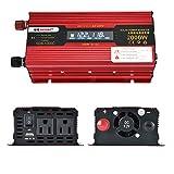 Rokoo Auto-Wechselrichter 1000 / 2000W LED Konverter LCD-Anzeige 12 / 24V zu AC110V / 220V