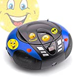 etc-shop Tragbarer CD-Player UKW MW Radio Tuner MP3 USB im Set Inklusive Smiley Sticker