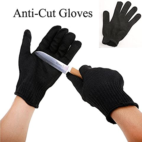 Shaddock Fishing 1 Pair Anti-cut Anti-slip Outdoor Hunting Flying Fishing Glove Cut Resistant Protective Fillet Knife Glove Thread Weave Black or White Size Large (Black)