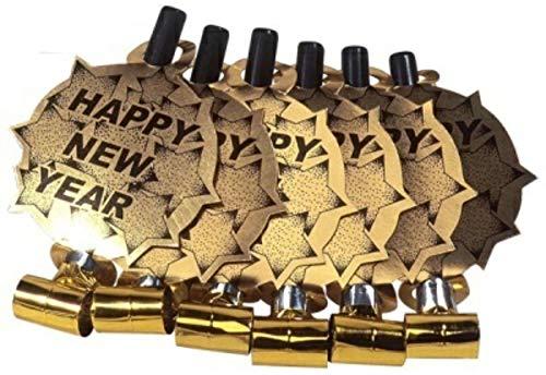 Partytröten Happy New Year 6er Set XXL Silber oder Gold 39 cm Luftrüssel Partyspass Scherzartikel Party Tröte Tröten Partyset Partyzubehör Geburtstag Silvester Feier (Farbe Gold)