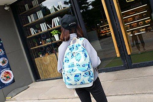 Blätter gedruckt Casual Canvas Rucksack Schultasche Laptop Tasche Rucksack für Jugendlich Junge Mädchen Light Blue