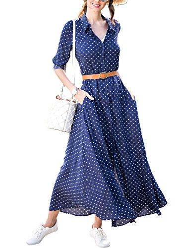 Happy Sailed Womens Polka Dot Roll up Sleeve Button Down Maxi Shirt Dresses