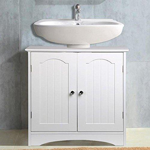 Popamazing Badezimmer unter dem Waschbecken Schrank Waschkommode in weiß Schrank Boden Stehend (Holz-badezimmer-waschbecken Eitelkeit)