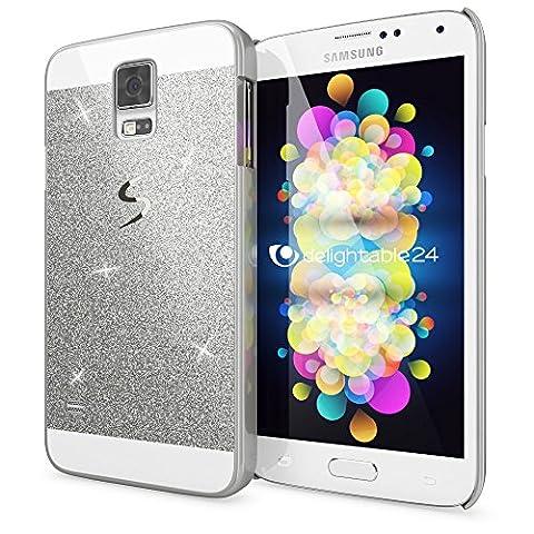 Samsung Galaxy S5 S5 Neo Coque Protection de NICA, Ultra-Fine Glitter Housse Slim Hardcase Paillettes Cover, Etui Rigide Strass Bumper Mince pour Telephone Portable Samsung S5 Neo S5 - Silver Argent