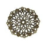 50 filigrane Deko-Ornamente, Verzierung, Blume, rund, 35mm, bronze