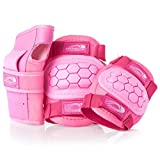 Osprey Kids' Skate Bmx 6pc Knee, Elbow and Wrist Protective Set, Pink, Small