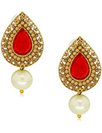 Spargz Antique Red Alloy AD Stone Drop Earring For Women AIER 490