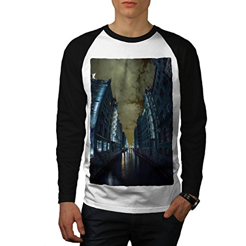 Venedig Nacht Stadt Mode Dunkel Fluss Men L Baseball LS T-shirt | Wellcoda (Fluss-baseball-jersey)