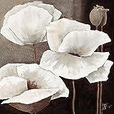 Leinwandbild, Ambiance II, weiße Blumen auf braunem Hintergrund, Gemälde, weiß, braun, 55 x 55 x 2,5 cm von Eurographics