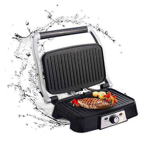 Aigostar Hitte 30HFA - Grill, parrilla, sandwichera y máquina de panini, 1500 W de potencia, placas antiadherentes con apertura de 180°, intensidad regulable, toque frío. Color plata. Diseño exclusivo.
