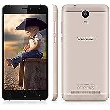 "Doogee X7 - Smartphone libre 3G Android 6.0 (Pantalla 6.0"", ARM Cortex-A7, 16GB ROM, 1GB RAM, Cámara 8.0MP, Dual SIM, Carga rápida), Dorado"