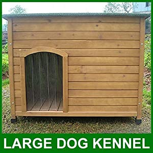 Large Dog Kennel Sloped Roof Wooden Kennels Dog House Pet Puppy Opening Roof 106cm X 76cm X 82cm Dog L by Feel Good UK