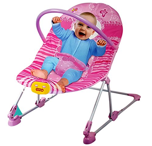Toyshine Baby Rocker Bouncer Chair Infant to Toddler with Vibration & Music, Pink