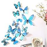 wuayi 12Stück 3d Schmetterling 'stickrs Tapete Design Fashion DIY Haus babyroom Wand Dekoration 11CM(2pcs),8CM(2pcs),6CM(8pcs) blau