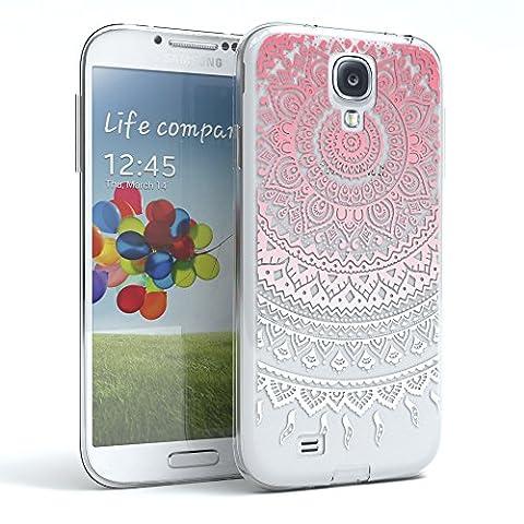 EAZY CASE Handy-Hülle für Samsung Galaxy S4 / S4 Neo Pink / Weiß Transparent   Ultra Slim TPU Silikon Smartphone Case Indische Sonne Design klar