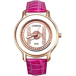 Watch - GERRYDA Women Luxury Business Leisure Analog Diamond Watch Quartz Watch color:Rose Red