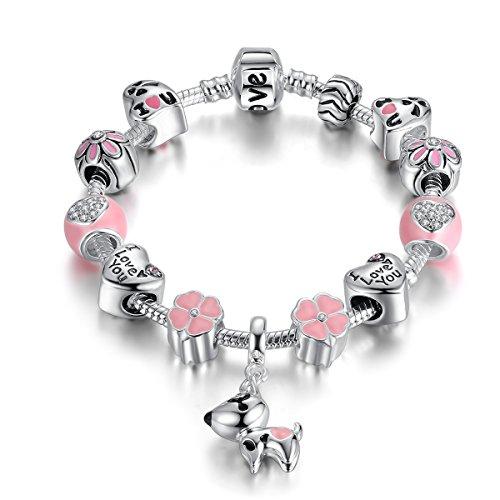 Catenina per serpenti di Qings, Bracciale a ciondolo d'amore Cassaforte in argento placcato con perle e perline di vetro murano a forma di fiore di zirconi rosa da 7,08 pollici (18cm) (DOG)
