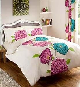 CHIC FLORAL Vintage Cotton Blend Bedding Duvet Cover Shabby Quilt Cover Bed Set Purple ( blue teal cream green pink plum King size Duvet Cover ( kingsize shabby chic )