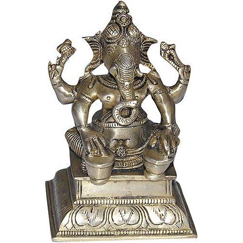 Ottone Ganesha seduti statua suonando tabla 10,16 x 7,62 x 13,97 cm