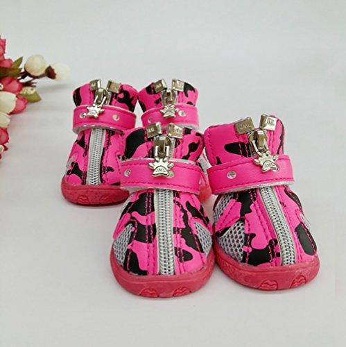 LongYu Sneakers da Uomo in Mesh Traspirante Antiscivolo Stivali Cerniera in Metallo Velcro Wear Oxford Stivali da Cane 4 Taglia Scarpe Sportive da Uomo 2 Colori 5 Dimensioni Rose Red