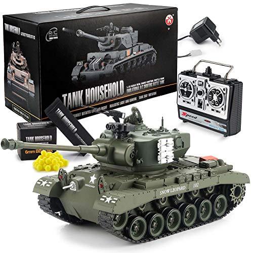 Goods & Gadgets Ferngesteuerter RC M26 Pershing 2.4GHz Panzer Snow Leopard Tiger 1:16; Schuss-Funktion, Sound, RTR