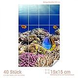 Graz Design 761555_15x15_80 Fliesenaufkleber Fische/Korallen für Kacheln | Bad-Fliesen mit Fliesenbildern überkleben (Fliesenmaß: 15x15cm (BxH)//Bild: 80x120cm (BxH))