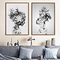 Altsommer Newest Decorative Painting,Abstract Black White Woman Canvas Print Art Painting Unframed Decorative Painting Home Living Room Bedroom Wall Decor (L / 40 X 50cm)