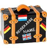 alles-meine.de GmbH Große - Spardose -  Reisekoffer - Reisekasse  - Incl. Name - Stabile Sparbüc..